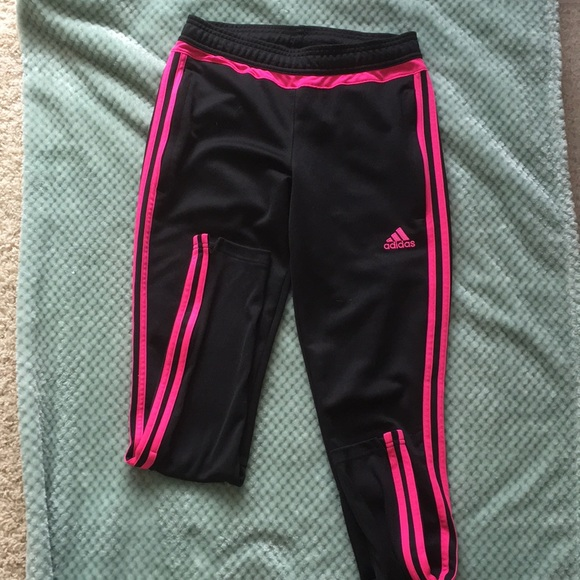 Black hot pink Adidas joggers